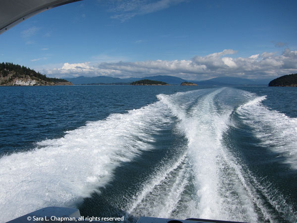 boat wake, ocean, puget sound, anacortes, islands, scenic, clouds, blue