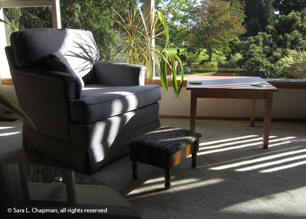 blue chair shadows, garden view