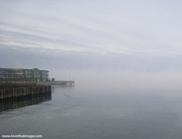 coast, sky, pier, scenic, Puget Sound, fog, mysterious, ripples