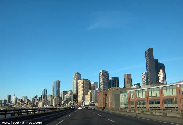 viaduct, sunshine, city, city scape, space needle, smith tower, roadway