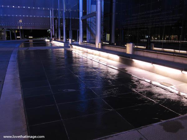 seattle, night, nighttime, reflections, flat fountain, wet, shiny