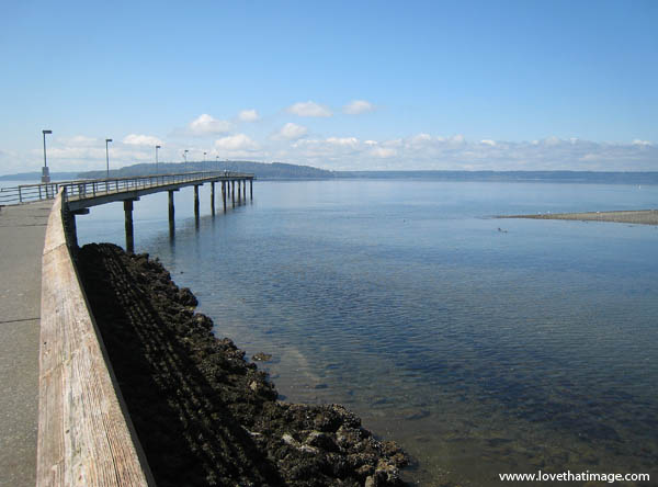 pier, rocks, blue sky, puffy clouds, water, Puget Sound