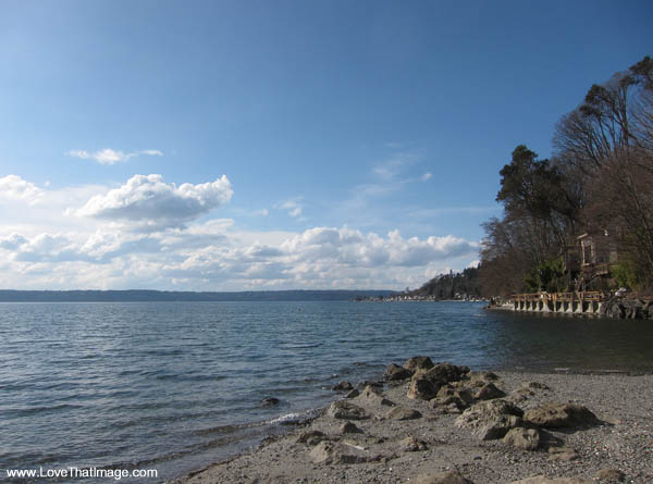 rocky beach, sunny, puget sound, clouds and blue sky, high pressure, normandy park cove beach