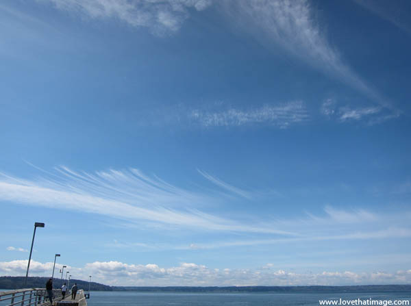 cirrus clouds, mares tails clouds, blue sky, puget sound, fishing pier