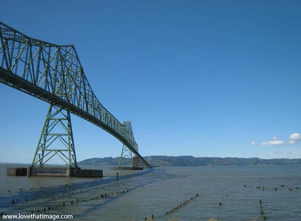 astoria oregon, blue skies, old bridge, green bridge, columbia river