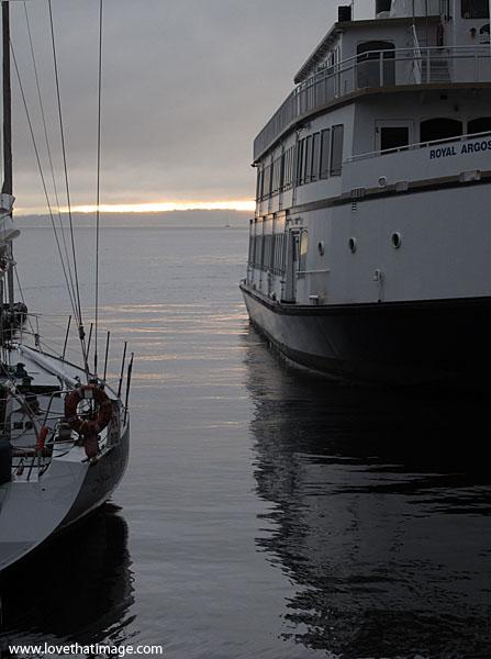puget sound, reflections, sunset, peaceful, argosy cruises, sailboat