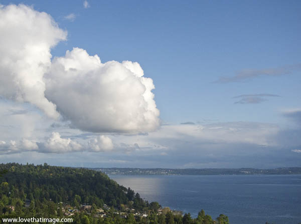 clouds, cumulus, puffy, white, puget sound, scenic vista