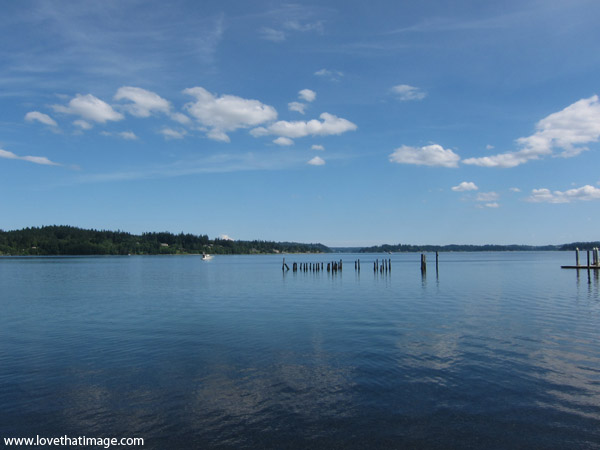 puget sound, still water, clouds, reflections, old pier posts, sunny summer day