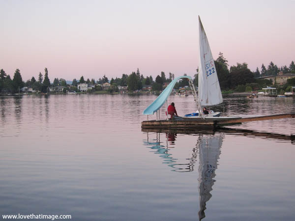 sailboat, dusk on the lake, sunset, boat dock, summer evening, sail
