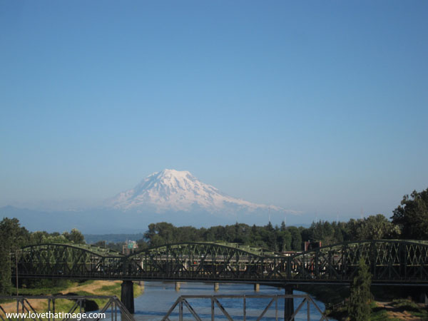 Mt. Rainier, bridge, scenic, snowcap, sunny day, mountain, volcano