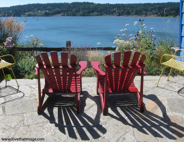 poulsbo wa, adirondeck chairs, chair shadows, liberty bay, scenic patio