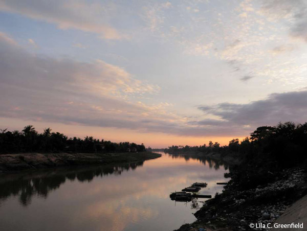 river reflections, sunset, cambodia, dusk
