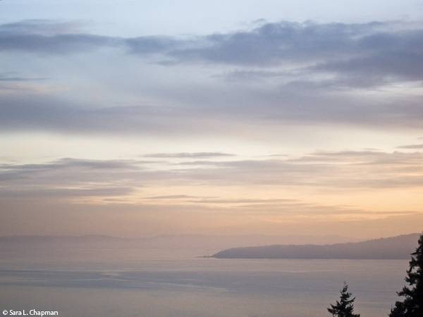 scenic clouds in Pacific Northwest, sunset view, soft clouds and water scene