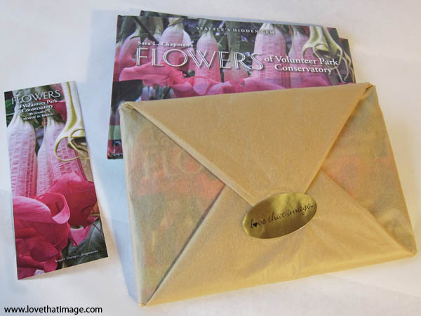 flowers of volunteer park conservatory book, flowers book, gift wrapped book