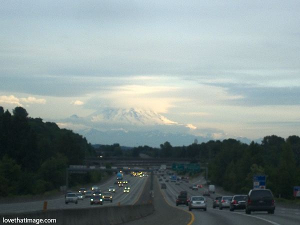 Mt. Rainier, mount rainier, mount ranier, Interstate 5 looking south, dusk view of mt. rainier