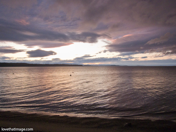three tree point sunset, puget sound sunset, dusk over the water