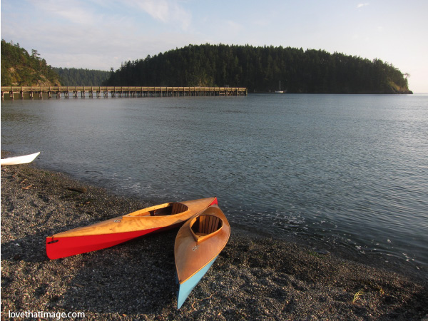 wooden kayaks, red and turquoise kayaks, deception pass, bowman bay, pebble shore, puget sound