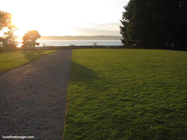 dumas bay center, federal way, path, sunset, shadows, big green lawn
