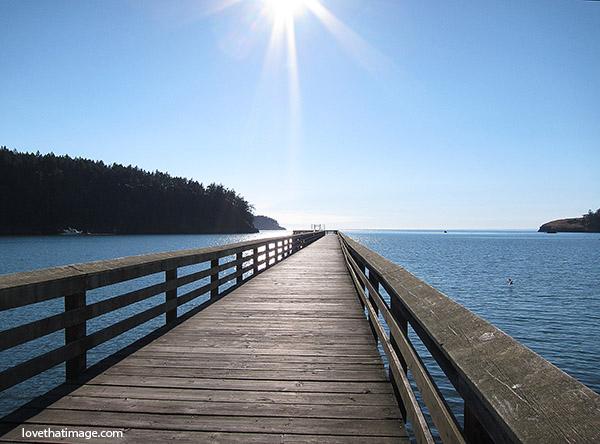 wooden pier, sunshine, puget sound, perspective