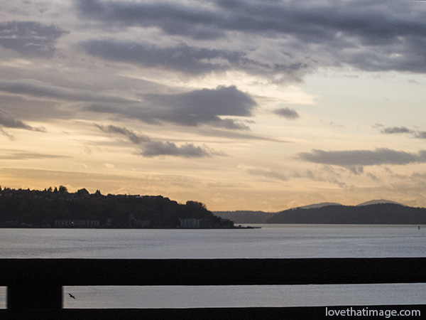 seattle sunset, puget sound, viaduct, view, dusk