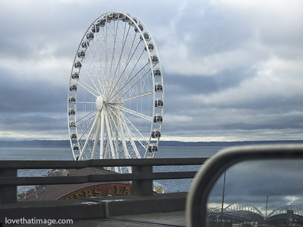 puget sound, ferris wheel, tourist attraction, seattle, waterfront, circle, gondola, viaduct