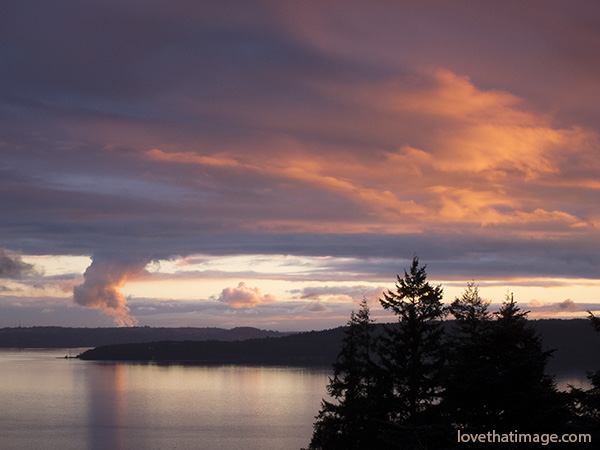 sunset, normandy park, overlook, cloudscape, puget sound, winter view, reflections