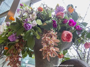 NW Flower & Garden Show, mixed bouquet, tulips, orchids, ranunculus, metal vase