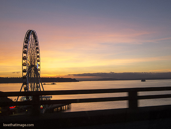 ferris wheel, sunset, puget sound, Seattle scenic view