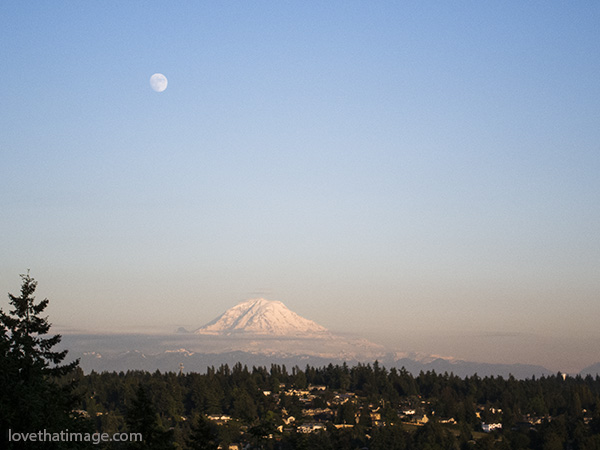 mount rainier, mt rainier, mt. rainier, mt. ranier, full moon, scenic, vista, sunset, smog