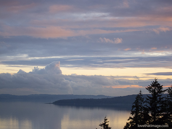 scenic view. water view with clouds, pacific northwest, puget sound
