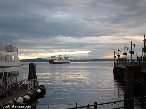 A ferryboat on Puget Sound at Seattle's waterfront