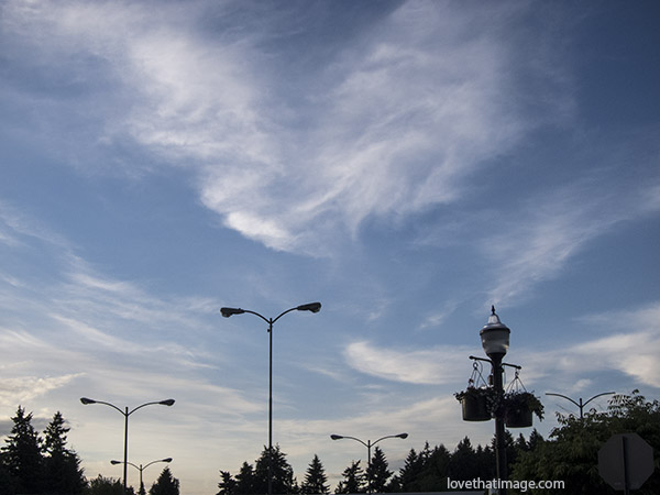 The sky on a warm evening, strolling downtown in Burien, Washington