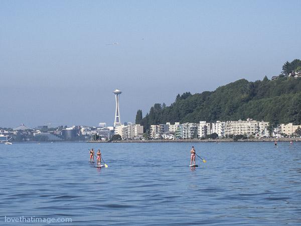 Paddleboarders off Alki Point in Seattle, WA