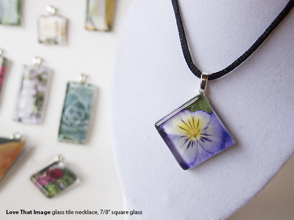 Glass Tile Jewelry pansy necklace on silky black cord