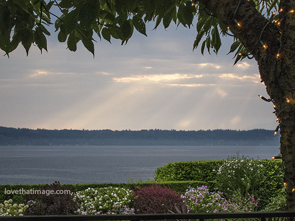 Late day sunbeams decorate the sky in this Seattle area scene