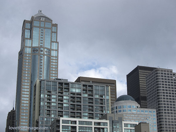 The Seattle skyline, from the waterfront