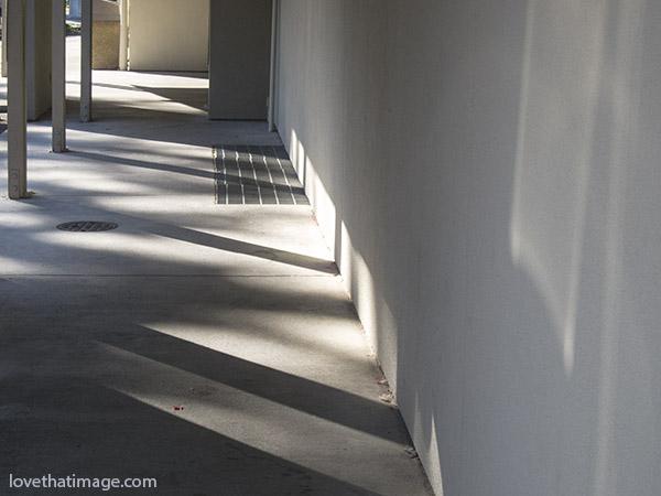 Morning sun casts shadows along a walkway