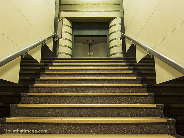 Art Deco staircase at the Asian Art Museum in Seattle