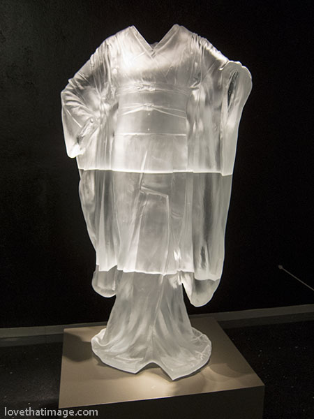 Life size glass sculpture of a kimono