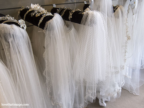 Bridal veils and tiaras on display