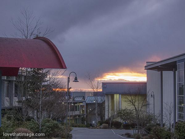Rain ending, clear skies beginning, at sunset in Western Washington