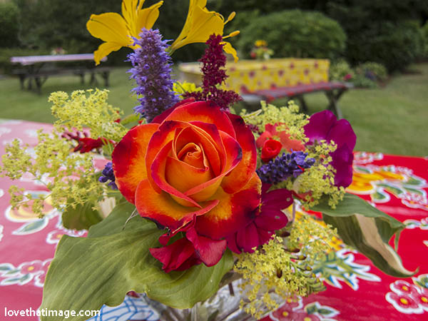 Colorful flowers decorate a backyard picnic table, ready for a party