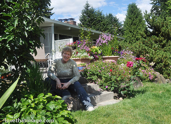Photoblogger Sara at her patio garden, June 2013
