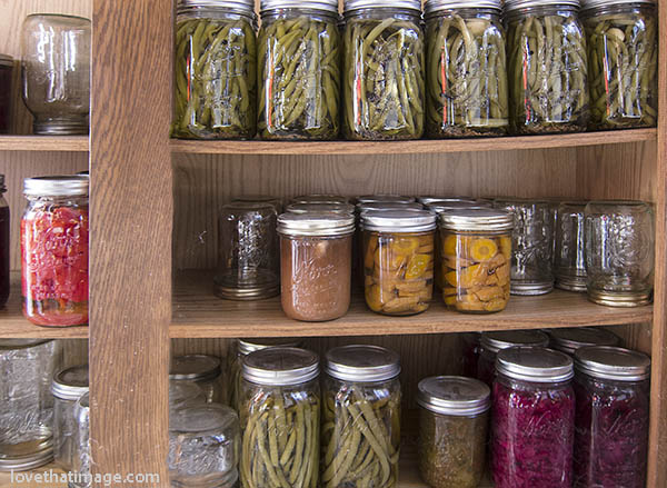 Pickled stringbeans, canned carrots and other goodies from the garden, home canned in Mason jars.