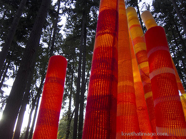 Light sculpture in Dottie Harper Park in Burien, WA