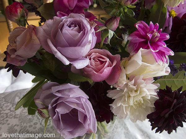 Garden roses and dahlias in a bouquet