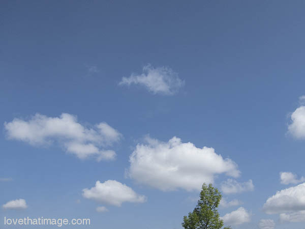 Sunny springtime sky with white puffy clouds