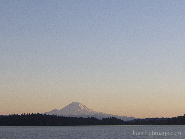 Soft sunset light on Mt. Rainier, seen from Seattle