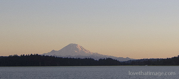 Soft sunset light on Mt. Rainier, seen from Seattle with more rectangular crop