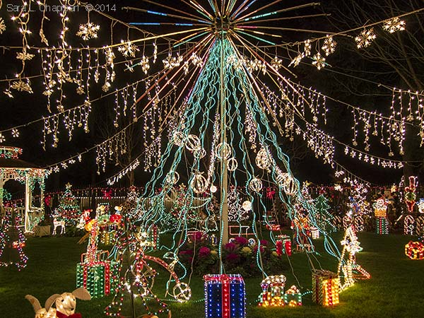 Night display of giant Christmas tree of lights, decorated gazebo and lit holiday sculptures of all kinds